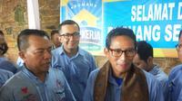 Cawapres nomor urut 2 Sandiaga Uno usai meresmikan Rumah Siap Kerja Sumsel di Palembang (Liputan6.com / Nefri Inge)