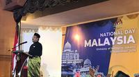 Dubes Zainal memberi pidato untuk membuka perayaan HUT Kemerdekaan malaysia di Indonesia, Rabu (11/9/2019) (Liputan6.com/Windy Febriana)