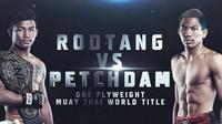 """Rodtang """"The Iron Man"""" Jitmuangnon akan berhadapan dengan Petchdam Petchyindee Academy pada Perebutan gelar juara dunia ONE Flyweight Muay Thai menjadi tajuk utama ONE: NO SURRENDER  (ONE)"""