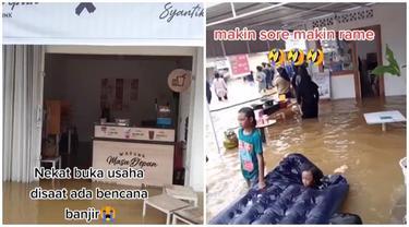 Viral Kafe Nekat Buka di Tengah Banjir, Tetap Ramai Dikunjungi Pembeli