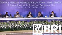 Press Conference Rapat Umum Pemegang Saham Luar Biasa (RUPSLB) BRI Tahun 2021 secara daring di Jakarta, Kamis (22/7).