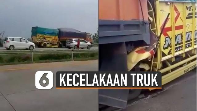 Akibat kejadian tersebut kabin truk nyaris rata.