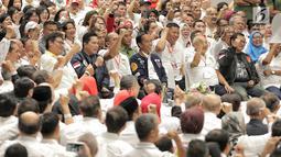 Capres nomor urut 01 Joko Widodo menghadiri Deklarasi Dukungan 10.000 Pengusaha untuk Jokowi-Ma'ruf Amindi Istora Senayan GBK, Jakarta, Kamis (21/3). Deklarasi dihadiri pengusaha skala kecil sampai besar. (Liputan6.com/Faizal Fanani)