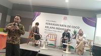 Konferensi pers dan diskusi Kebaikan Nata De Coco Kelapa Indonesia di Jakarta, 16 Desember 2019. (Liputan6.com/Henry)