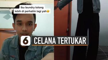 Kejadian unik dialami oleh seorang lelaki ini karena celananya tertukar dengan kulot perempuan saat di laundry.