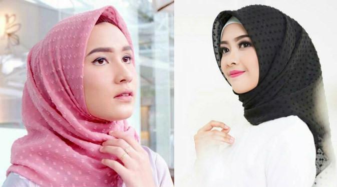 Hijab Polos Motif Totol