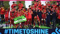 Timnas Vietnam menjuarai Piala AFF 2018 setelah menang 1-0 atas Malaysia, Sabtu (15/12/2018) di Stadion My Dinh, Hanoi. Vietnam unggul agregat gol 3-2. (AFP/Manan Vatsyayana)