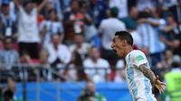 Pemain Timnas Argentina, Angel Di Maria, melakukan selebrasi setelah mencetak gol ke gawang Prancis, pada Babak 16 Besar Piala Dunia 2018, di Kazan Arena, Sabtu (30/6/2018) malam WIB.  (AFP/Luis Acosta)