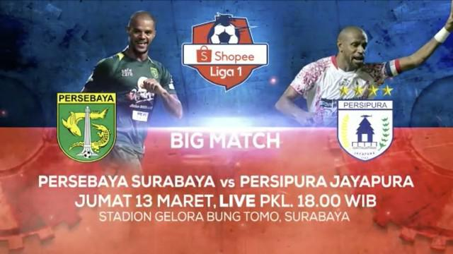 Berita video jangan lewatkan serunya pertandingan Persebaya Surabaya melawan Persipura Jayapura pada pekan ketiga Shopee Liga 1 2020 live exclusive di Indosiar dan Vidio.