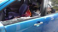 Istri Pejabat Sulsel saat ditemukan tidak bernyawa di dalam mobilnya (Fauzan/Liputan6.com)