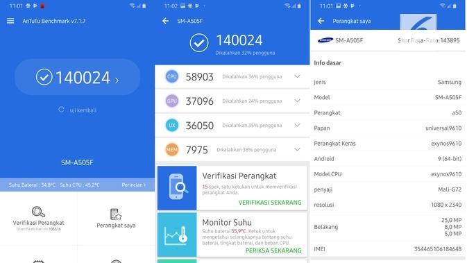 AnTuTu Benchmark Galaxy A50 (Liputan6.com/ Agustin Setyo W)