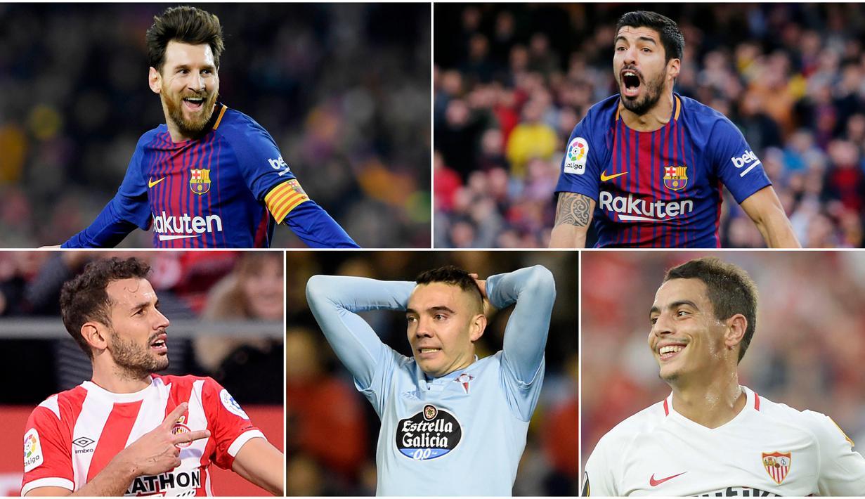 Striker Barcelona, Lionel Messi, memimpin daftar pencetak gol sementara La Liga dengan torehan 15 gol. Berikut daftar top scorer sementara La Liga Spanyol pekan ke 17. (Foto Kolase AP dan AFP)