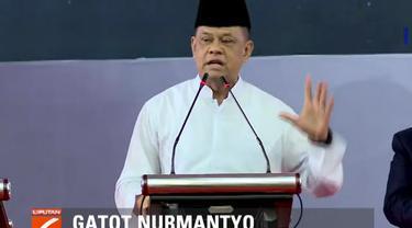 Gatot dalam orasinya menyatakan kekuatan inti bangsa adalah bersatunya TNI dan rakyat. Namun, Gatot menambahkan bahwa kondisi TNI saat ini semakin menurun.