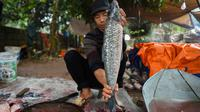 Seorang pria menyiapkan ikan gurame untuk dimasak di pot tanah menggunakan kayu bakar di provinsi Ha Nam, Vietnam, Selasa (21/1/2020). Makanan lezat populer untuk Tahun Baru Imlek atau Tet di utara Vietnam itu dijual dengan masing-masing pot sekitar Rp 25ribu hingga Rp 80ribu. (Nhac NGUYEN / AFP)