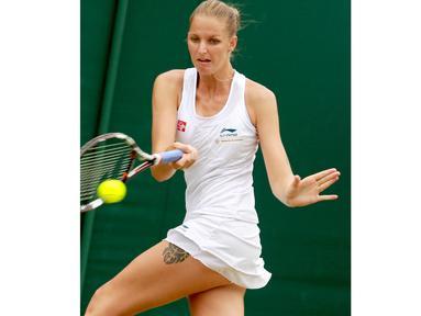 Karolina Pliskova memiliki tinggi 1.86 cm dengan pukulan andalan forehand tangan kanan dan dua tangan backhand. (EPA/Sean Dempsey)