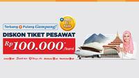 Beli tiket pesawat di Tiket.com melalui aplikasi mobile pelanggan akan mendapat diskon Rp 100.000/kursi (berlaku kelipatan).