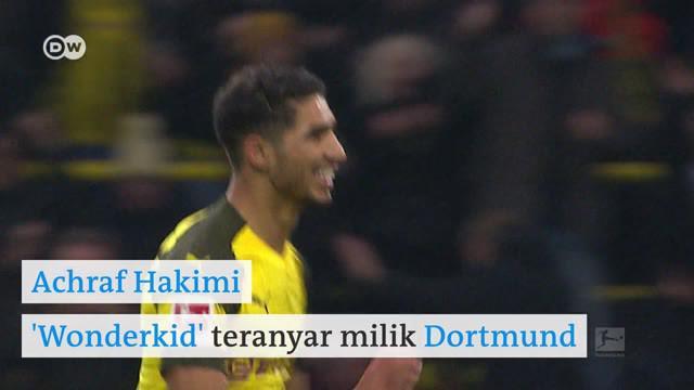 Berita video selebrasi gol dari Achraf Hakimi, pemain Dortmund yang terinspirasi dari kartun Dragon Ball Z. Hakimi dipinjamkan dari Real Madrid. Sumber video DW English.