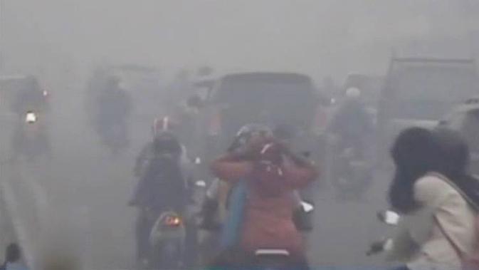 Lantaran pekatnya kabut asap, Bandara Sultan Thaha, Jambi lumpuh siang tadi.