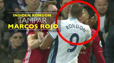 Video insiden striker West Bromwich Albion, Salomon Rondon, tampar bek Manchester United, Marcos Rojo.