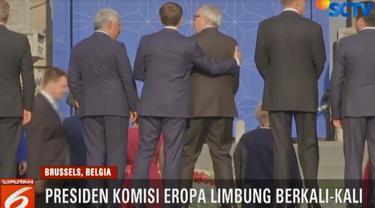 Juncker terhuyung-huyung hingga Presiden Finlandia dan Ukraina memeganginya terus.