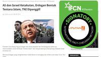 [Cek Fakta] AS dan Israel Ketakutan, Erdogan Bentuk Tentara Islam, TNI Dipanggil!