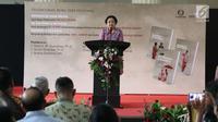 Presiden Indonesia ke-5 Megawati Soekarnoputri memberi pidato saat peluncuran buku tentang Soekarno di Jakarta, Kamis (30/11). Dalam kesempatan itu Megawati menceritakan bagaimana dia menjadi saksi kehidupan ayahnya Bung Karno. (Liputan6.com/Angga Yuniar)