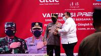 Serikat buruh KSPSI menggelar vaksinasi gratis bersama Polri (dok: KSPSI)