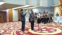 Menteri Koordinator bidang Perekonomian Darmin Nasution melantik Susiwijono Moegiarso menjadi Sekretaris Menteri Kemenko Perekonomian (Foto:Merdeka.com/Anggun P.Situmorang)
