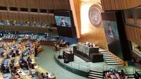 Wakil Presiden Muhammad Jusuf Kalla menyampaikan pidato di Sidang Umum PBB ke-73 pada Kamis, 28 September 2018, di New York (Liputan6.com/Sekretarian Negara)