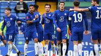 Chelsea meraih kemenangan 1-0 atas Sheffield United pada laga perempat final Piala FA di Stamford Bridge, Minggu (21/03/2021) malam WIB. Berkat hasil tersebut, The Blues lolos ke semifinal. (AFP/Ben Stansall)