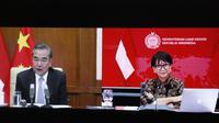 Pertemuan virtual antara Menlu Retno dengan Menlu RRT, Wang Yi pada Kamis, 30 Juli 2020.