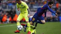 Barcelona bermain dengan skor 0-0 ketika menjamu Getafe dalam pertandingan pekan ke-23 La Liga, di Stadion Camp Nou, Minggu (11/2/2018). (AP Photo/Manu Fernandez)