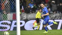 Matteo Politano menjadi penentu kemenangan Timnas Italia atas AS (AP)