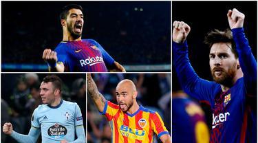 Berikut ini top scorer sementara La Liga Spanyol musim 2017/2018 hingga pekan ke-21, Lionel Messi dan Luis Suarez melesat. (Kolase foto-foto AP dari AFP)