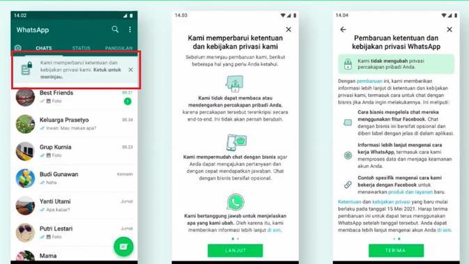 WhatsApp menggulirkan in-app notification sebagai bentuk transparansi ke pengguna terkait kebijakan privasi barunya (Foto: WhatsApp)