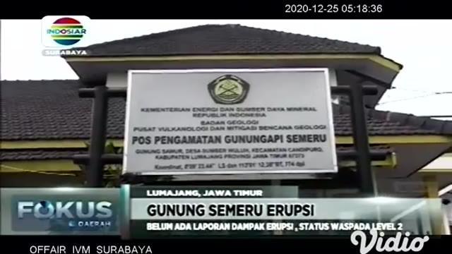 Gunung Semeru di Lumajang, Jawa Timur, kembali erupsi pada Rabu sore (23/12). Gunung api tertinggi di Pulau Jawa tersebut memuntahkan guguran awan panas sejauh 3,5 kilometer ke arah Curah Kobokan.