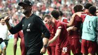 Manajer Liverpool, Jurgen Klopp, berhasil membawa timnya menjuarai Piala Super Eropa 2019, setelah mengalahkan Chelsea lewat adu penalti dengan skor 5-4 (skor 2-2), di Vodafone Park, Istanbul, Rabu (4/8/2019). (AFP/Ozan Kose)
