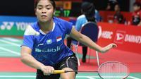 Tunggal putri Indonesia, Gregoria Mariska Tunjung, saat tampil pada babak pertama Indonesia Masters 2019, Rabu (23/1/2019). (PBSI)