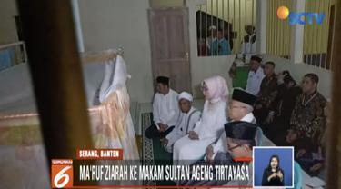 Ma'ruf Amin ziarah ke makam Sultan Ageng Tirtayasa di Serang, Banten, sebelum debat cawapres.