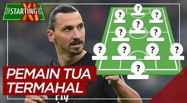 Berita motion grafis starting XI pemain uzur termahal saat ini, salah satunya Zlatan Ibrahimovic.
