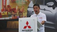 President Director PT MMKSI, Kyoya Kondo dalam pembukaan karnaval 'Xpander Tons of Real Happiness', Jumat (27/8).