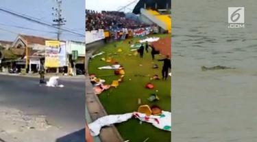 Video Hit hari ini dari emak-emak yang salat di tengah perempatan jalan raya, kemunculan buaya 4 meter, hingga pengrusakan stadion di Palembang oleh suporter Sriwijaya FC.