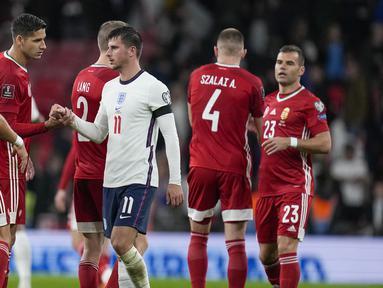 Inggris gagal meraup poin penuh usai ditahan imbang tamunya Hongaria 1-1 dalam laga Kualifikasi Piala Dunia 2022 Zona Eropa Grup I di Wembley Stadium, Selasa (12/10/2021). Three Lions sempat tertinggal pada menit ke-24 dan mampu menyamakan skor pada menit ke-37. (AP/Kirsty Wigglesworth)