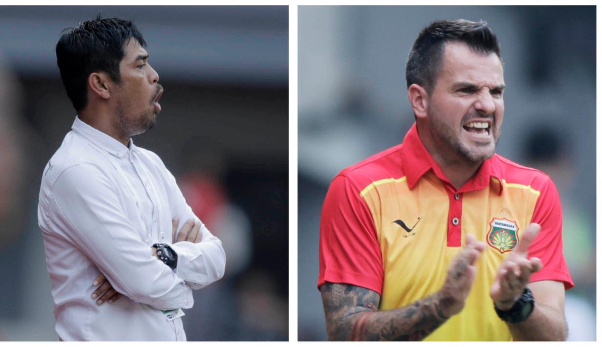 Berikut ragam ekspresi pelatih Bhayangkara FC, Simon McMenemy dan Pelatih Semen Padang, Nil Maizar, saat memberikan arahan kepada anak asuhnya. (Bola.com/M Iqbal Ichsan)