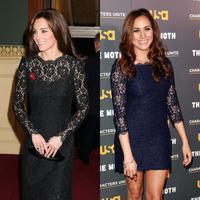 Kate Middleton dan Meghan Markle tanpa disadari sering banget loh memakai model baju yang sama. (Getty Images/Cosmopolitan)