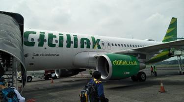 Citilink menjadi maskapai pertama yang melakukan penerbangan komersil dari dan menuju Bandara Internasional Yogyakarta (YIA). Liputan6.com/Septian Deny