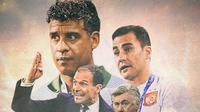 Ilustrasi Massimiliano Allegri, Carlo Ancelotti, Fabio Cannavaro, Frank Rijkaard (Bola.com/Adreanus Titus)
