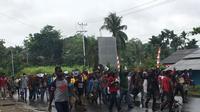 Aksi unjuk rasa dai Manokwari, Papua Barat. (Liputan6.com/Kabarpapua/Katharina Janur)