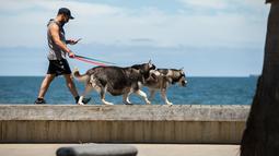 Seorang pria berjoging bersama anjing-anjingnya di Pantai St Kilda di Melbourne, Australia, pada 9 Desember 2020. Kehidupan pantai kembali terlihat setelah Melbourne mengakhiri masa pemberlakuan lockdown COVID-19 pada November lalu, yang berlangsung selama hampir empat bulan. (Xinhua/Hu Jingchen)
