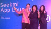 ki-ka: Nayoko Wicaksono, Co-Founder & CEO Seekmi, mantan Menteri Perdagangan Indonesia 2014, Mari Elka Pangestu dan Clarissa Leung (Co-Founder & Managing Director. (Liputan6.com/Yuslianson)